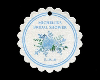 Personalized Bridal Shower Favor Tags with Blue Flowers - Thank You Tags - Round Scallop Tags