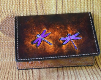 Dragonfly Card case,girls wallet,slim wallet, minimal wallet, thin wallet,ladies,wallet,women's wallet, credit card case holds some cash too