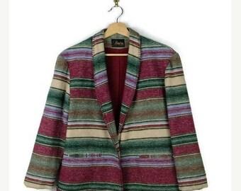 ON SALE Vintage Navajo/Tribal inspired Multi color Stripe Blazer from 1980's*