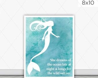 Mermaid Salt Air Instant Download Art Print
