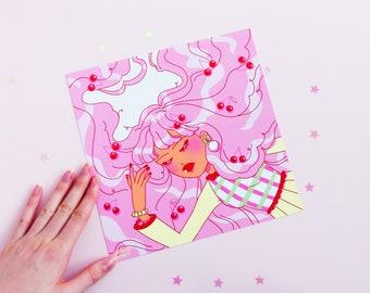 Cherries Girl Print, Square Print, Geeniejay, Pink, Kawaii, Original Art, Art Print, Illustration, Digital Art, Cat, Comfort, Pastel