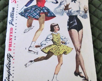 Vintage 1950's Teen Age Tap Dance Trunks Blouse Skating Outfit Sewing Pattern Simplicity 4035 Size 14/32