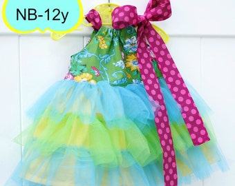 PDF Sewing Pattern with tutorial to make cute Tulle Ruffle Dresses newborn-12 girls Instant