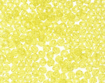140- 4MM Yellow Faceted Plastic Beads - a great price!