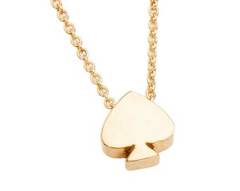 14k SOLID GOLD Spade necklace with 14k link chain, available 14k solid rose, yellow, white gold ace of spades tiny spade necklace