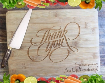 Thank You - Corporate Gift - Personalised Engraved Bamboo Chopping Board