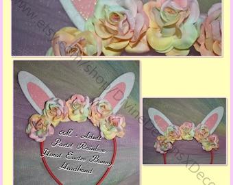 6M - Adult Pastel Rainbow Floral Easter Bunny Ears Headband Photo Prop