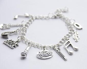 Music Charm Bracelet, Music Lover Bracelet, Music Jewelry, Music Bracelet, Treble Clef Bracelet, Music Teacher Gift, Musician gift, present