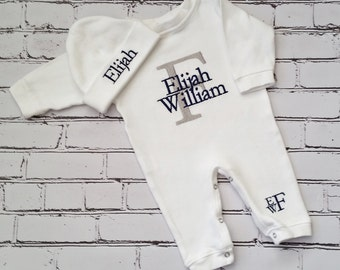 Monogrammed Baby Boy Outfit Baby Boy Coming Home Outfit Newborn Baby Boy Personalized Baby Gift Embroidered Baby Boy Take Home Outfit
