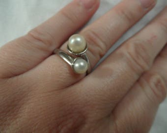 Double pearl ring | White pearls | Gift | Gift for her | Silver ring