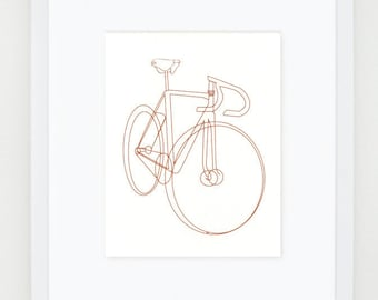 bike bicycle sketch illustration - silkscreen print - 8x10""