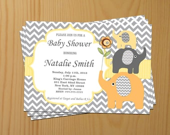 Boy Baby Shower Invitation Elephant Baby Shower Invitation Yellow Baby Shower Invitations  (87a) / Free Thank You Card / Instant Download