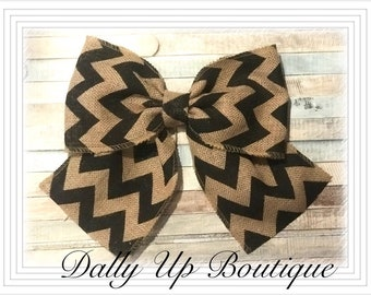 Chevron bow, Rustic bow, country Burlap bow, wreath bow, wedding bow, decor bow, Wedding decor, Rustic decor, wreath bow, Burlap Wedding bow