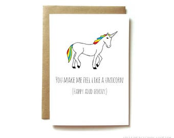 dirty love card for boyfriend girlfriend, card for husband wife, you make me feel like a unicorn happy and horny