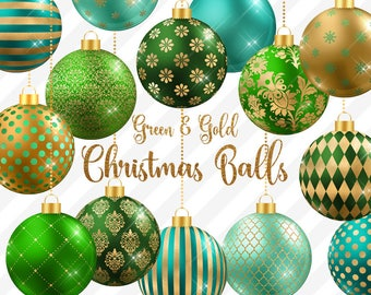 Green And Gold Christmas Balls Clipart Baubles Ornaments Mint