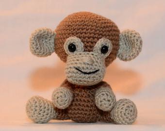 Miles the Monkey. A funny little monkey.Hand crocheted little monkey, a plush softie animal.