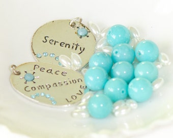 Jewelry supplies necklace kit turquoise blue glass round bead faux white seed pearl silver tone pendant blue rhinestones serenity peace love