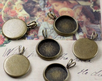 40PCS 12mm Brass Antique Bronzed Round Cabochon Mountings with V ring Wholesale- DT065