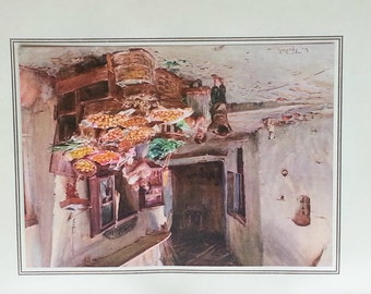 ITALY A Fruit Stall at SAN REMO Walter Tyndale Original Vintage Print 1912