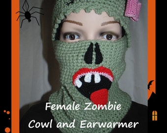 Female Zombie Cowl and Earwarmer PDF-INSTANT DOWNLOAD