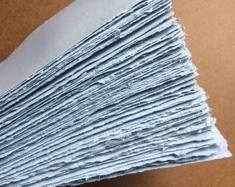 Light blue paper #2, handmade paper, eco friendly paper, recycled paper, textured paper, homemade paper, decorative paper, letterpress paper