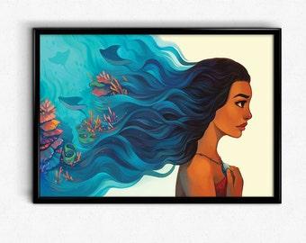Moana Stingray Ocean Hair Poster Art Print