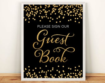 Printable Wedding sign Confetti Guest Book 8x10 Gold Glitter Confetti Guestbook Sign DIY Wedding poster INSTANT DOWNLOAD 300dpi