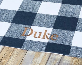 Personalized Farmhouse Plaid Pet Placemat | Best Puppy Dog Gifts  | Pet Bowl Mat  A Favorite Custom Gift by Three Spoiled Dogs