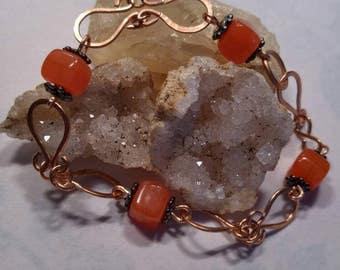 Tangerine and Handmade Copper link bracelet