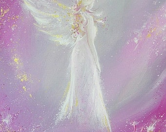 "ANGEL ART POSTER, Guardian angel painting ""Met in dream"" Wall Decor, Art for Frame,perfect for frame,Angel Gift,Christening,Wedding,Birthday"