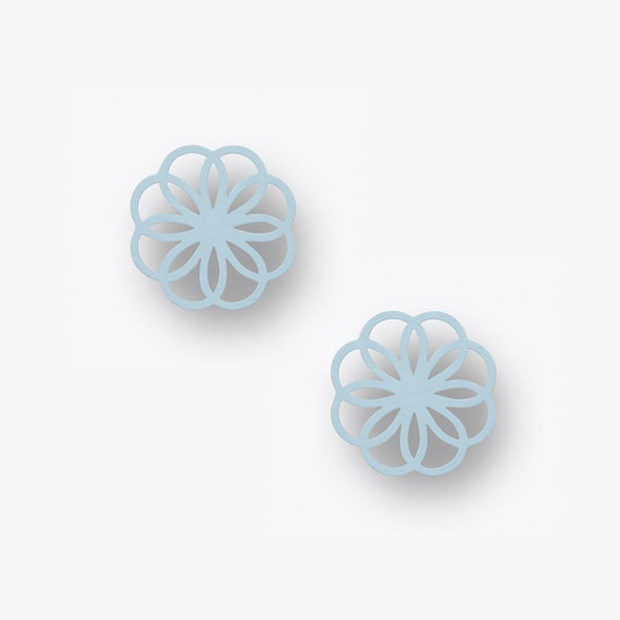 Modern Ornament Birch Earrings in Light Blue