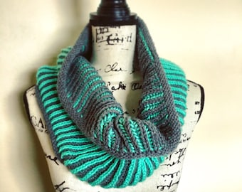 Reversible Brioche Cowl.  Hand Knit Infinity Scarf