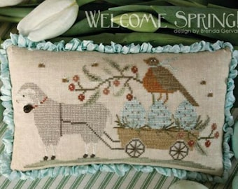 WITH THY NEEDLE Welcome Spring! counted cross stitch patterns at thecottageneedle.com Easter 2018 Nashville Market
