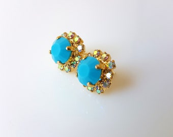 Turquoise Earrings Gold Stud, Turquoise Earrings, Turquoise Earrings Gold, Stud Earrings, Gold Stud Earrings, Blue Earrings, Blue Studs