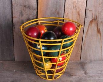 Vintage Yellow Metal Basket Filled with 18 Vintage Pool Billiard Balls Shooting Pool Game