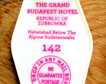 On Sale! White with pink printed  THE GRAND BUDAPEST Hotel Inspired Keytag //  (printed on front and back)