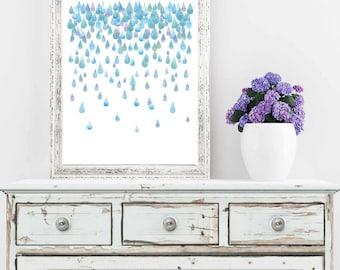 Raindrops - Watercolor Art Print - Home Office Art - Modern Art - Nursery Art - Rainy Day - Home Decor - Various Sizes