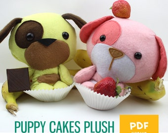 Puppy Cakes Dog Plush Pattern // Soft Toy // Easy Felt Plushie PDF Softie DIY Sewing Pattern- Instant Digital Download