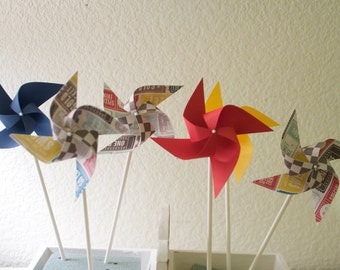 Carnival Circus Decor vintage/Retro - 12 mini Pinwheels Going to the Fair (Custom orders welcomed)