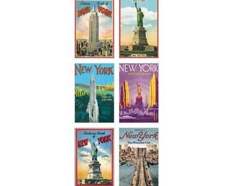 Vintage New York glitter greetings Carte Postale postcard set NY