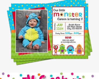 Monster Birthday Party Photo Invitation - Little Monster Printable Invitation - Monster Birthday Party - Costume Party - Halloween Invite