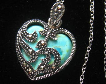 Marcasite pendant etsy clearance sale sterling turquoise or chrysocolla marcasite pendant necklace the turquoise stone is unusual may even be chrysocolla aloadofball Images
