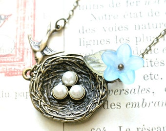 Bird nest necklace with eggs and blue flower-Bird nest jewelry gift for mom-Nature jewelry for women-Mothers necklace by Iceblues