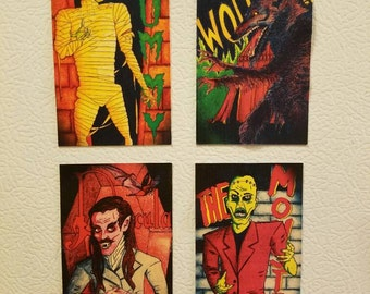 Monster Mash Fridge Magnets (set of 4) - Dracula, The Mummy, The Wolfman, The Monster