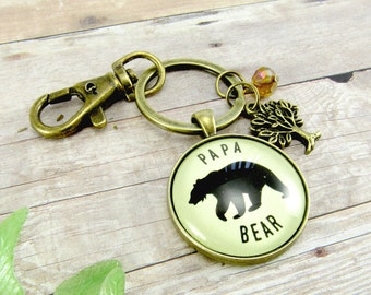 """Papa Bear Key Chain New Dad Gift Idea, Father's Day Presen, Dad Baby Shower Gift, 1.20"""" Bronze Vintage Style Outdoors Man Grandpa Keychain"""