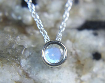 MOONSTONE - Faceted Rainbow Moonstone .925 Sterling Silver Slide Necklace! Free USA Shipping!