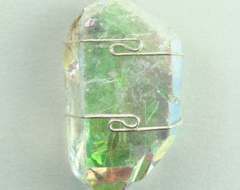 Angel Aura Quartz  wire wrapped Pendant #125