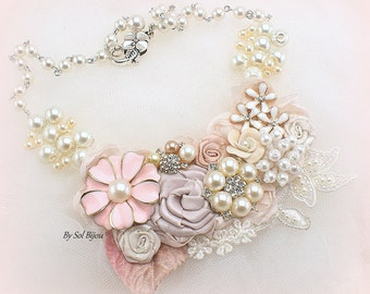 Vintage Style Wedding Statement Necklace in Blush Pink and Ivory with Flowers and Pearls