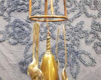 Homemade Silverware and Wine Goblet Windchime