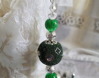 Sun Catcher and Window Decoration  Green and Silver One of a Kind  Handmade  Colorful
